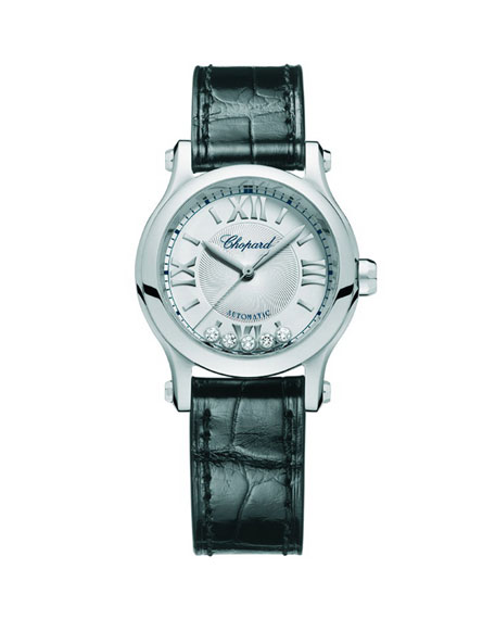 Chopard 30mm Happy Sport 5-Diamond Watch w/ Alligator Strap