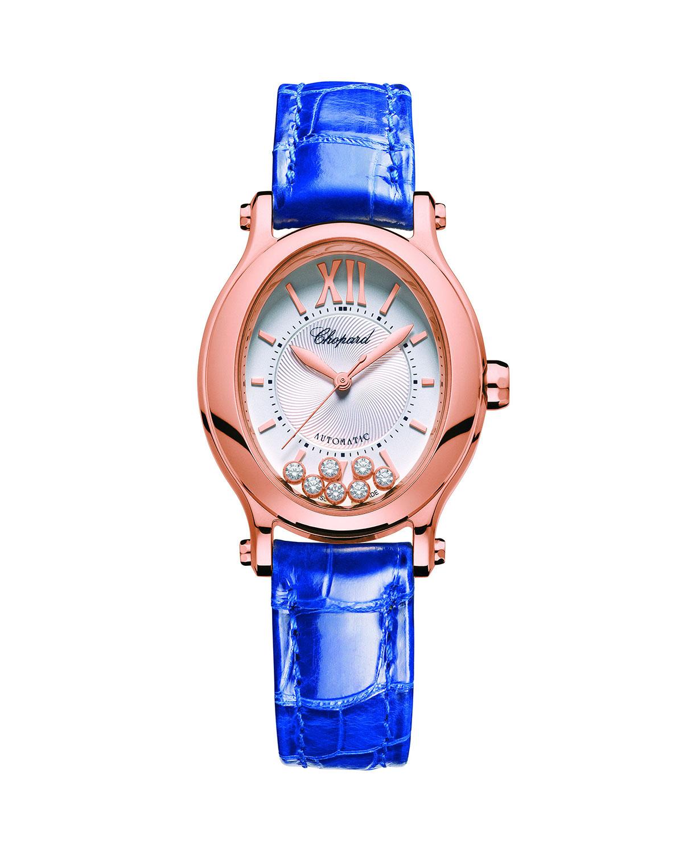 18k Rose Gold Happy Sport 7-Diamond Watch w/ Alligator Strap