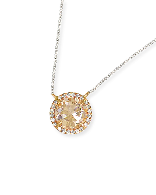 18k 2-Tone Morganite Diamond-Halo Necklace