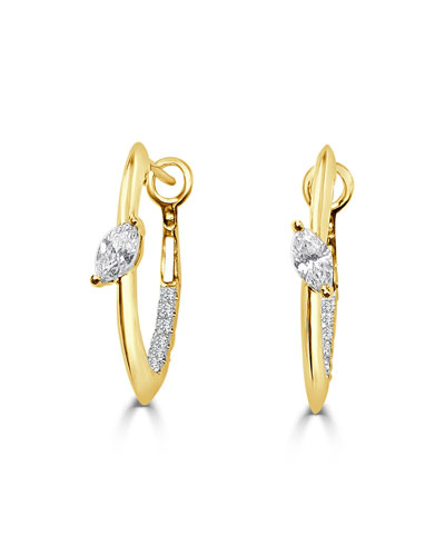 18k Slanted Marquise Diamond Huggie Hoop Earrings