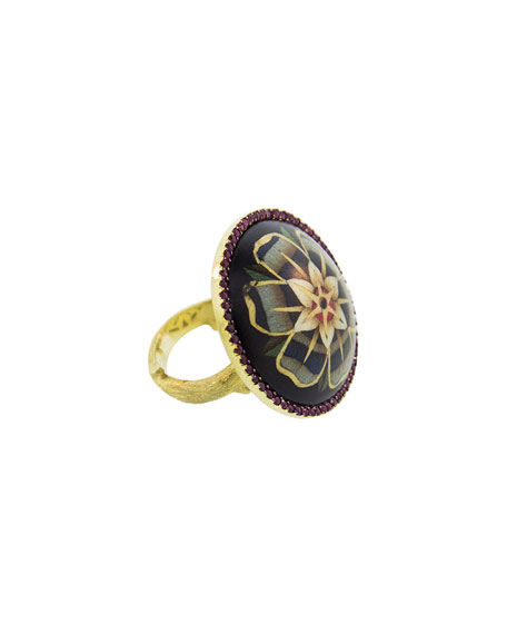 Silvia Furmanovich 18k Marquetry Flower Ring, Size 7