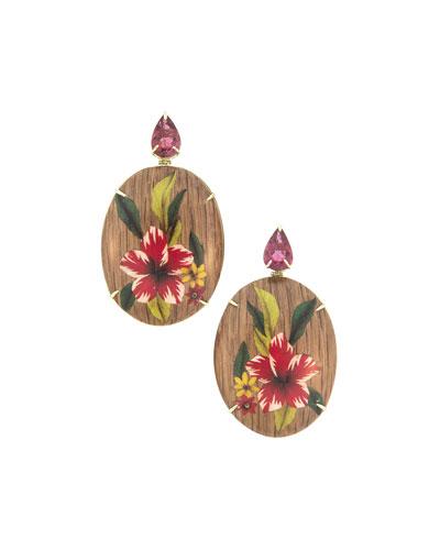 18k Tourmaline Marquetry Flower Earrings