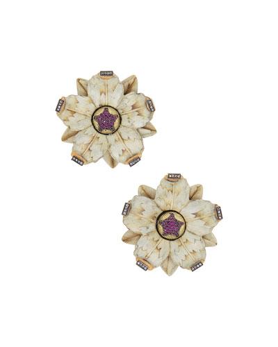 18k Sculptural Botanical Marquetry Flower Stud Earrings