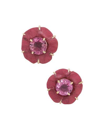 18k Sculptural Botanical Marquetry Tourmaline Flower Stud Earrings
