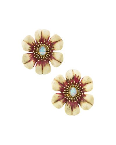 18k Sculptural Botanical Marquetry Flower Earrings