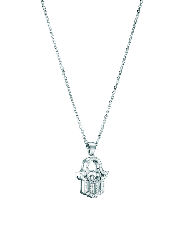 18k White Gold Diamond Hamsa Pendant Necklace