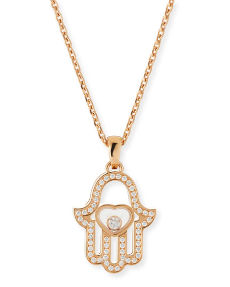 Chopard 18k Rose Gold Diamond Hamsa Pendant Necklace