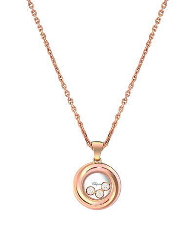 Happy Heart Emotion 18k Rose Gold 3-Diamond Pendant Necklace