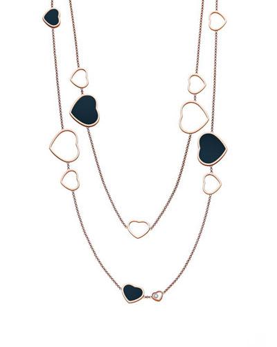 Happy Hearts 18k Rose Gold Onyx Station Necklace