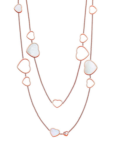 Happy Hearts 18k Rose Gold Mother-of-Pearl Station Necklace