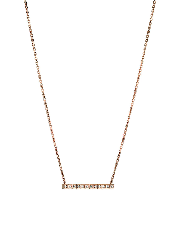 18k Rose Gold Ice Cube Diamond Bar Necklace