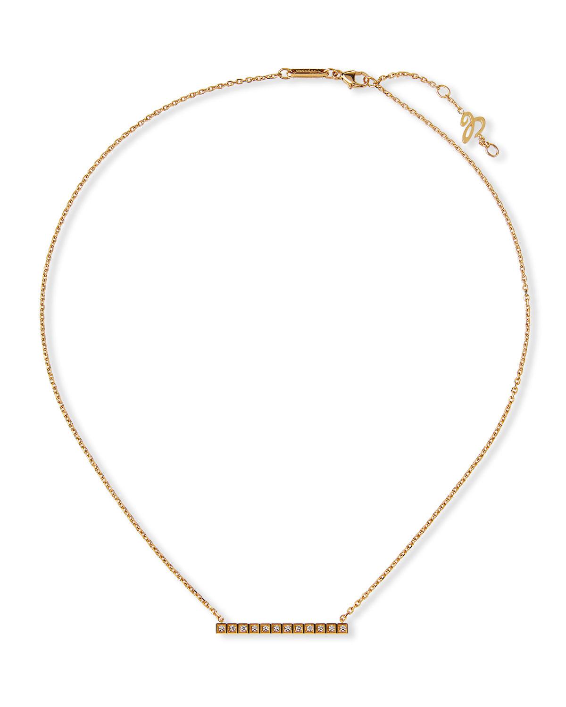 18k Ice Cube Diamond Bar Necklace