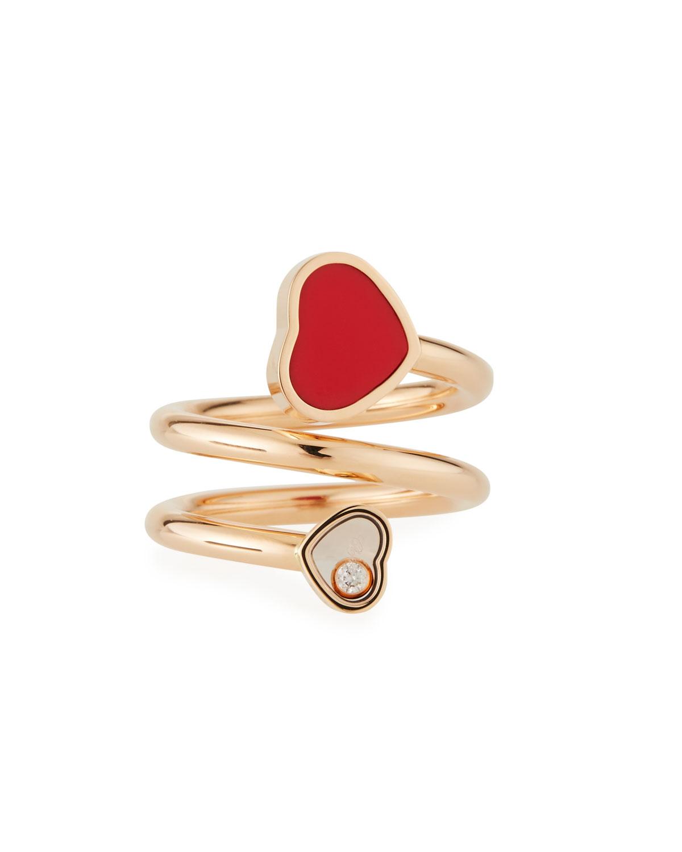 Happy Hearts Carnelian 1-Diamond Coil Ring