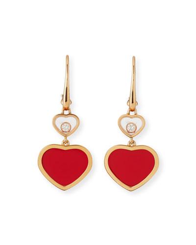 Happy Hearts Diamond & Carnelian Double-Drop Earrings