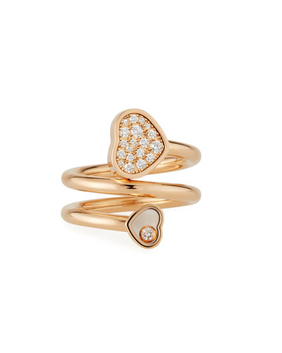 Happy Hearts Pave Diamond Coil Ring