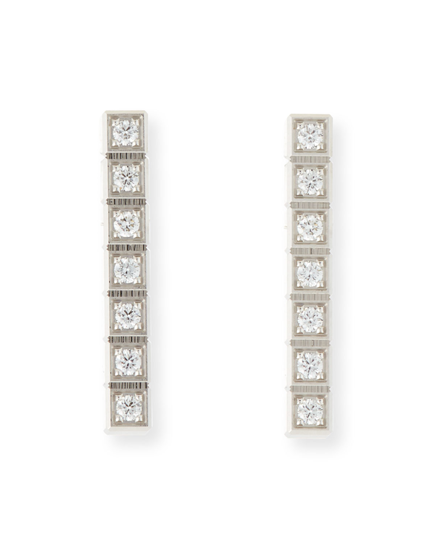 Ice Cube Full-Diamond Bar Earrings in 18K White Gold