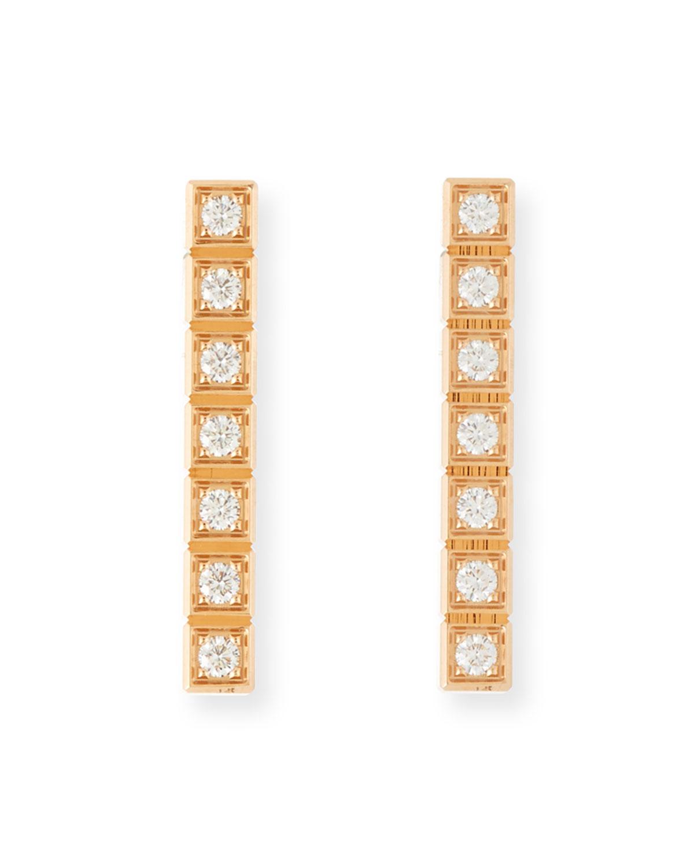 Ice Cube Full-Diamond Bar Earrings in 18K Rose Gold