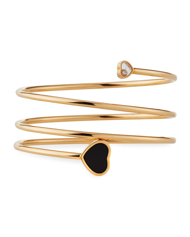 Happy Hearts Black Onyx 1-Diamond Coil Bracelet