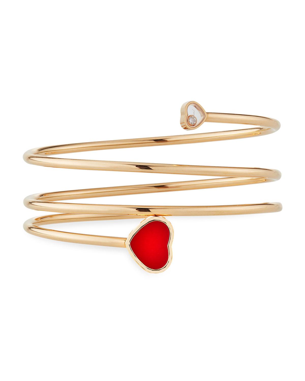 Happy Hearts Carnelian 1-Diamond Coil Bracelet