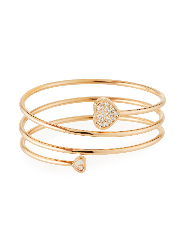Happy Hearts Pave Diamond Coil Bracelet