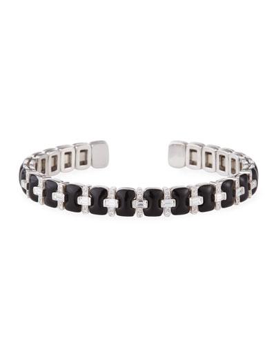 Oui 18k White Gold Alternating Black Enamel Diamond Bangle