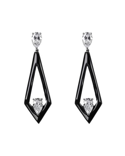 V 18k White Gold Black Enamel Diamond Triangular Drop Earrings