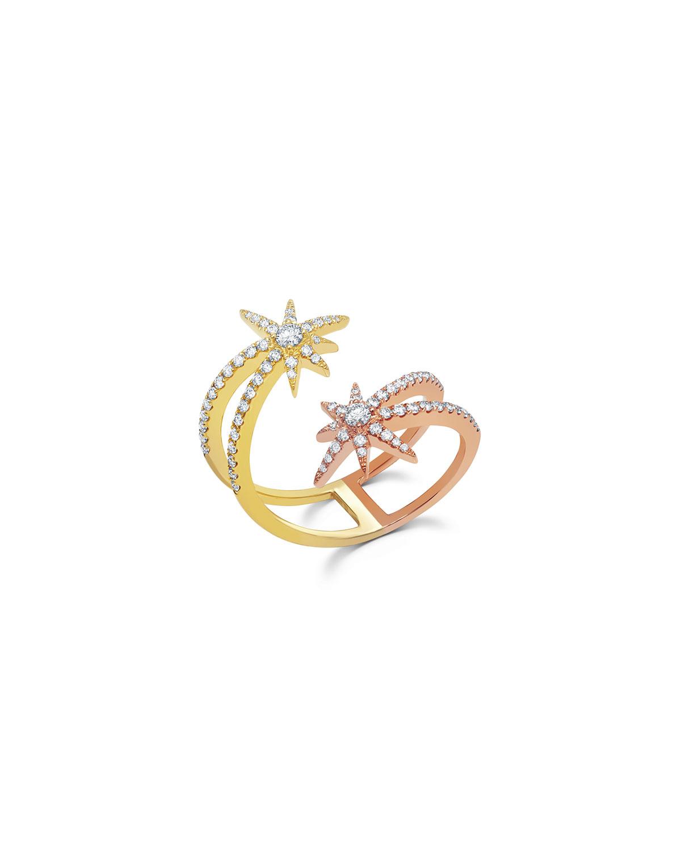 18k Yellow Gold Diamond Shooting Starburst Ring