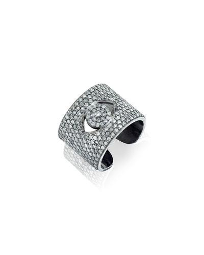 Diamond Evil Eye Cuff Ring, Size 7