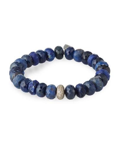 10mm Blue-Mix Bracelet w/ Diamond Donut