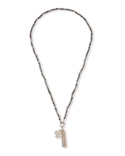 Long Quartz Diamond Faith Necklace