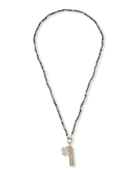 Sheryl Lowe Long Quartz Diamond Faith Necklace