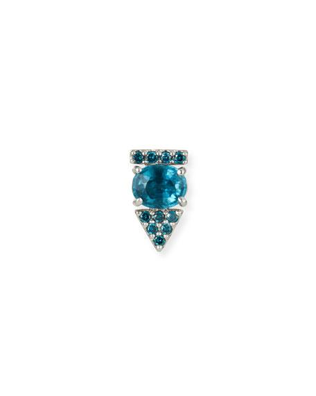 Stevie Wren 14K White Gold Kyanite & Blue Diamond Arrow Stud Earring, Single