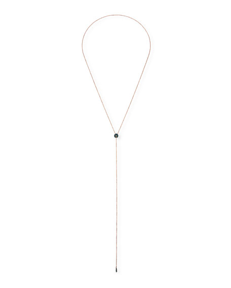 Stevie Wren 14k Rose Gold Blue Diamond Circle Lariat Necklace
