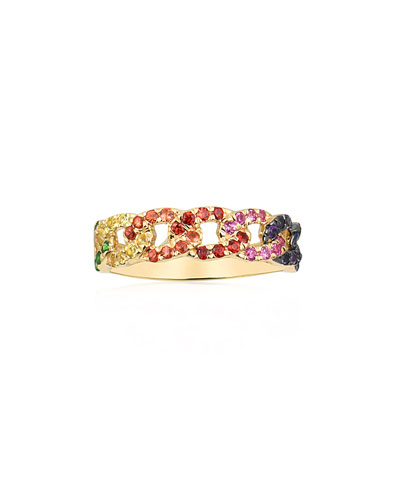 14k Rainbow Sapphire Curb-Link Chain Ring, Size 6.5