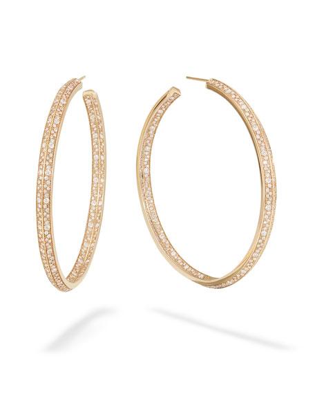 Lana Mega Flawless Diamond Edge Hoop Earrings, 60mm