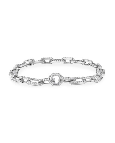 Starburst Chain 18k White Gold Diamond Pave Bracelet, Size M