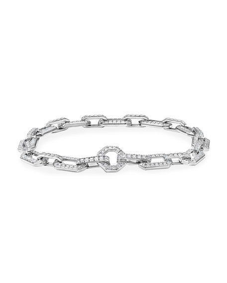 David Yurman Starburst Chain 18k White Gold Diamond Pave Bracelet, Size L