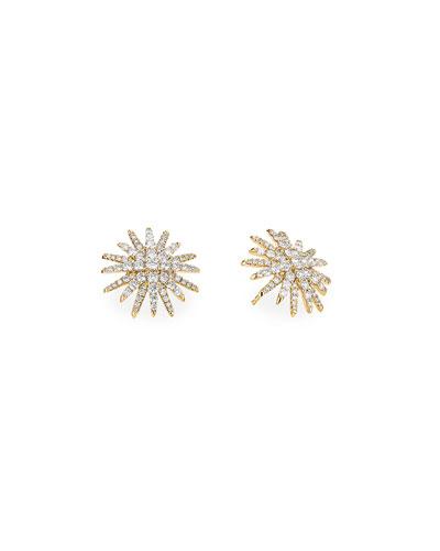 Starburst 18k Yellow Gold Diamond Pave Stud Earrings