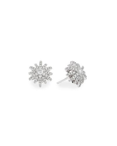 Starburst 18k White Gold Diamond Pave Small Stud Earrings