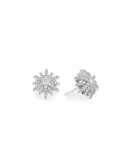 David Yurman Starburst 18k White Gold Diamond Pave Small Stud Earrings