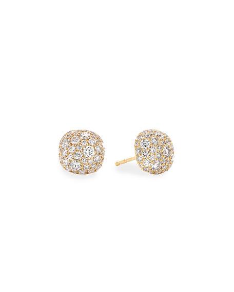 David Yurman 18k Yellow Gold Diamond Small Cushion Stud Earrings