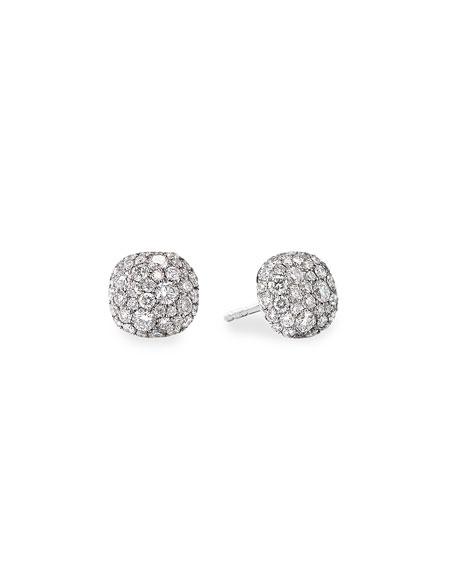 David Yurman 18k White Gold Diamond Small Cushion Stud Earrings