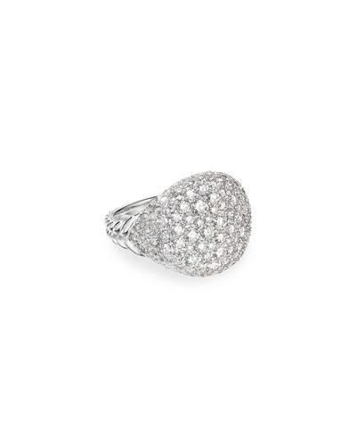 Chevron Pave Diamond Pinky Ring in 18k White Gold, Size 3.5
