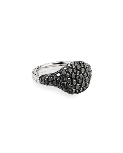 Mini Chevron Pave Black Diamond Pinky Ring in 18k White Gold, Size 3.5