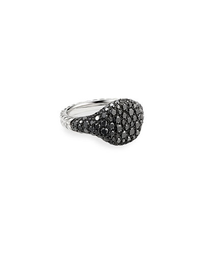 Mini Chevron Pave Black Diamond Pinky Ring in 18k White Gold, Size 4