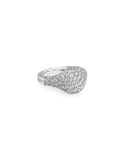 Mini Chevron Pave Diamond Pinky Ring in 18k White Gold, Size 3