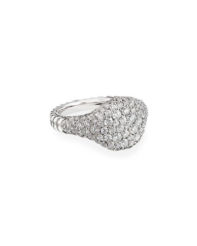 Mini Chevron Pave Diamond Pinky Ring in 18k White Gold, Size 5