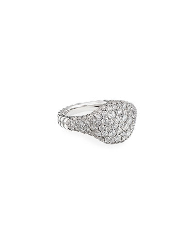 Mini Chevron Pave Diamond Pinky Ring in 18k White Gold, Size 5.5