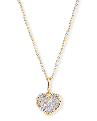 Cable Collectibles Pave Plate Heart Charm Necklace in 18k Yellow Gold