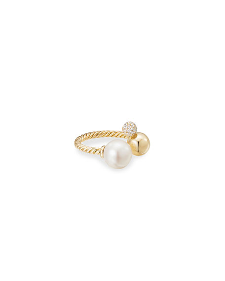 David Yurman Solari 18k Pearl and Diamond Cluster Ring, Size 7